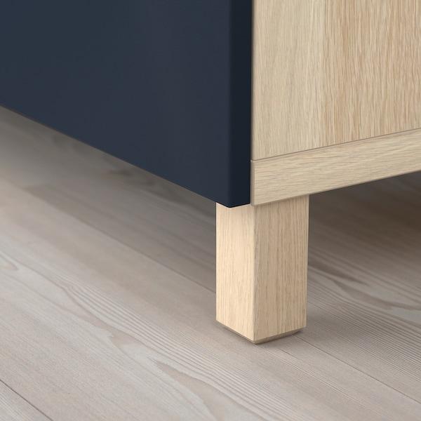 BESTÅ TV bench with drawers, white stained oak effect/Notviken/Stubbarp blue, 120x42x48 cm