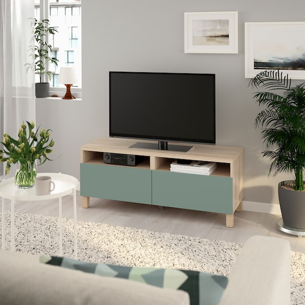 BESTÅ TV bench with drawers, white stained oak effect/Notviken/Stubbarp grey-green, 120x42x48 cm