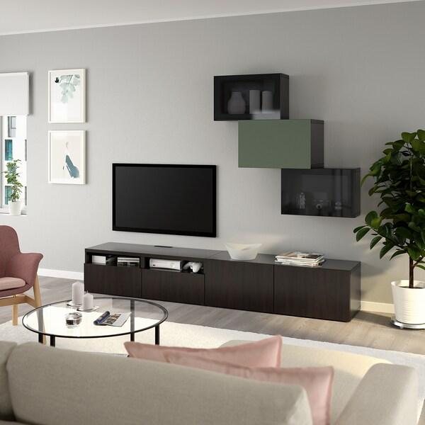 BESTÅ TV storage combination/glass doors, black-brown Lappviken/Notviken grey-green, 240x42x190 cm