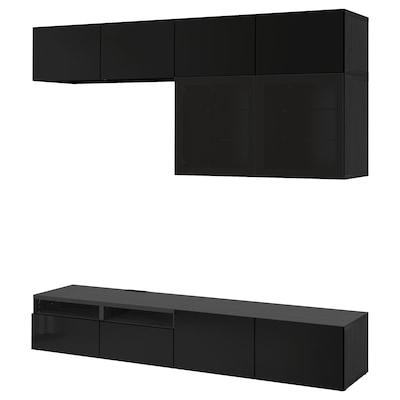 BESTÅ TV storage combination/glass doors, black-brown/Selsviken high-gloss/black smoked glass, 240x42x231 cm