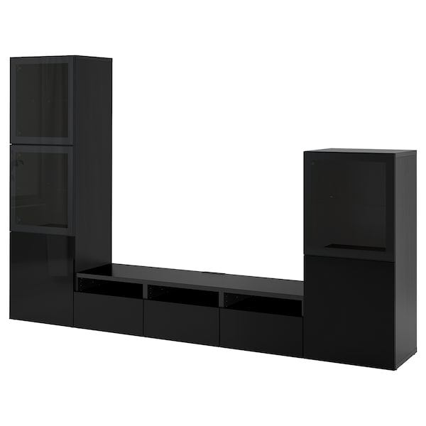 BESTÅ TV storage combination/glass doors, black-brown/Selsviken high-gloss/black smoked glass, 300x42x193 cm