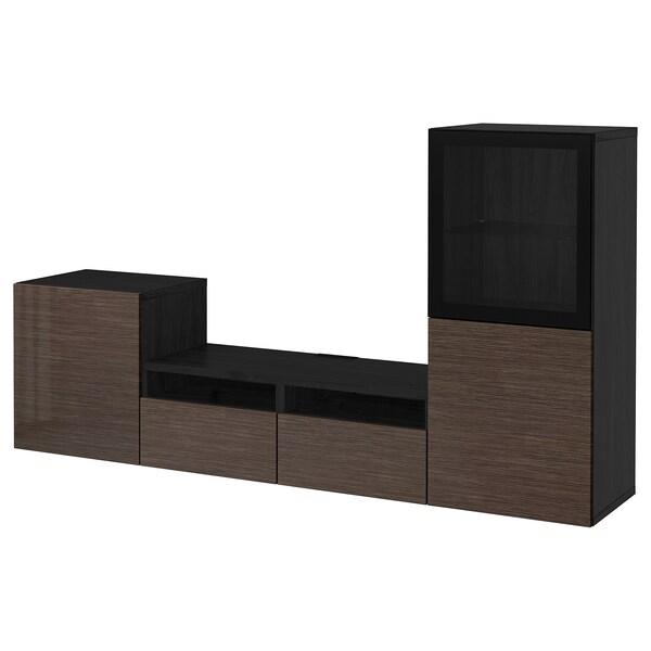 BESTÅ TV storage combination/glass doors, black-brown/Selsviken high-gloss/brown clear glass, 240x40x128 cm