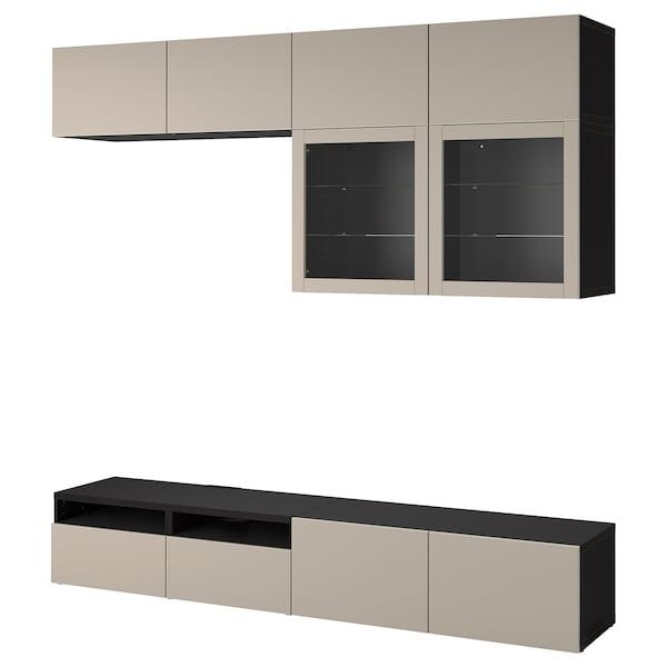 BESTÅ TV storage combination/glass doors, black-brown Sindvik/Lappviken light grey/beige, 240x42x231 cm