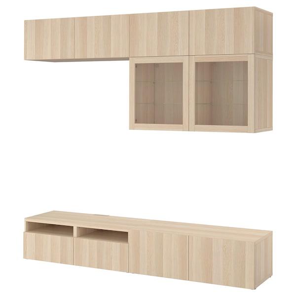 BESTÅ TV storage combination/glass doors, Lappviken/Sindvik white stained oak eff clear glass, 240x40x230 cm