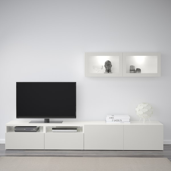 BESTÅ TV storage combination/glass doors white Lappviken/light grey clear glass 240 cm 166 cm 20 cm 40 cm