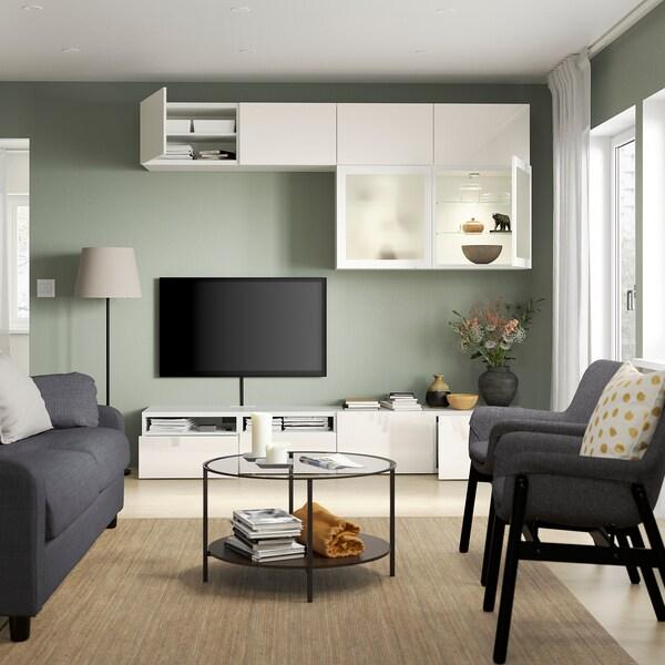 BESTÅ TV storage combination/glass doors, white/Selsviken high-gloss/white frosted glass, 240x42x231 cm