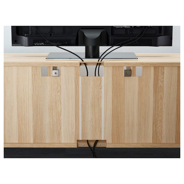 BESTÅ TV storage combination/glass doors, white stained oak effect/Selsviken high-gloss/beige frosted glass, 180x40x192 cm
