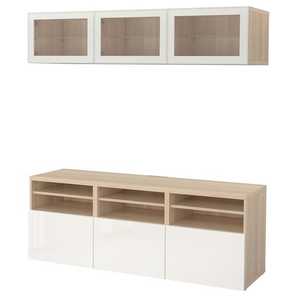 BESTÅ TV storage combination/glass doors, white stained oak effect/Selsviken high-gloss/white clear glass, 180x40x192 cm