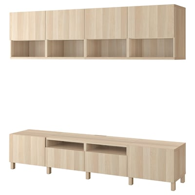 BESTÅ TV storage combination, white stained oak effect/Lappviken/Stubbarp white stained oak effect, 240x42x230 cm