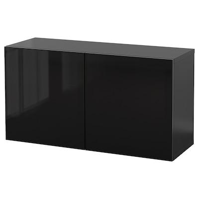 BESTÅ Wall-mounted cabinet combination, black-brown Glassvik/black smoked glass, 120x42x64 cm