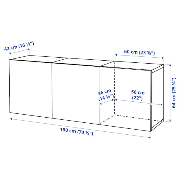 BESTÅ Wall-mounted cabinet combination, black-brown/Hanviken black-brown, 180x42x64 cm