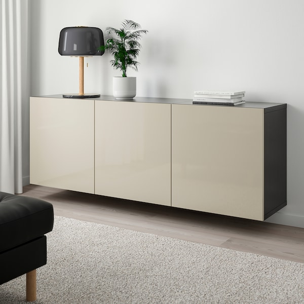 BESTÅ Wall-mounted cabinet combination, black-brown/Selsviken high-gloss/beige, 180x42x64 cm