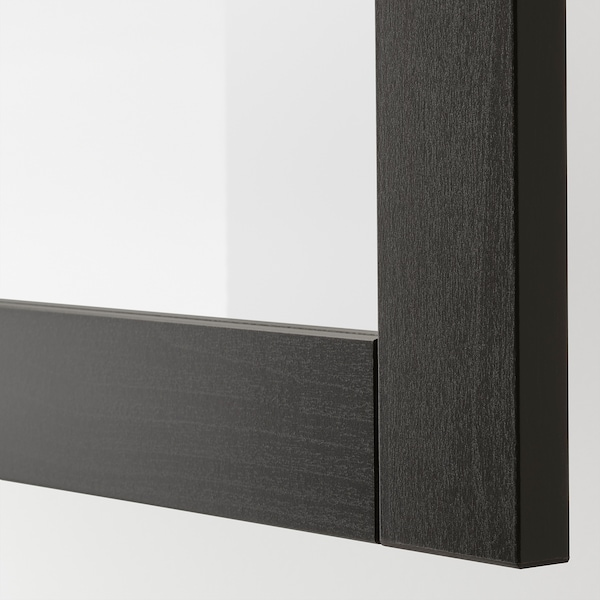 BESTÅ Wall-mounted cabinet combination, black-brown/Sindvik black-brown clear glass, 60x42x38 cm