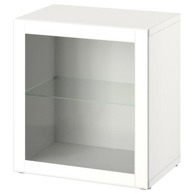 BESTÅ Wall-mounted cabinet combination, white/Ostvik white, 60x42x64 cm