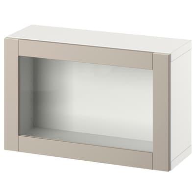 BESTÅ Wall-mounted cabinet combination, white/Sindvik light grey/beige, 60x22x38 cm