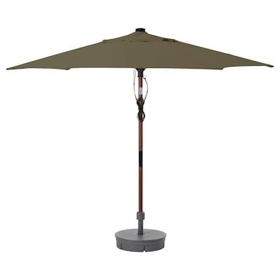BETSÖ / LINDÖJA Parasol with base, brown wood effect beige-green/Grytö dark grey, 300 cm