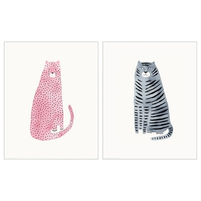 BILD Poster, pink and blue cats, 40x50 cm