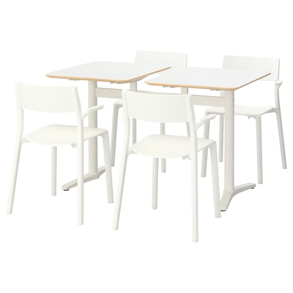 BILLSTA / JANINGE table and 4 chairs white/white 130 cm 60 cm 72 cm