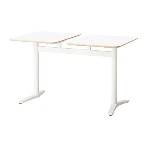 IKEA BILLSTA table with 2 tops Stands steady also on an uneven floor as it has adjustable feet.