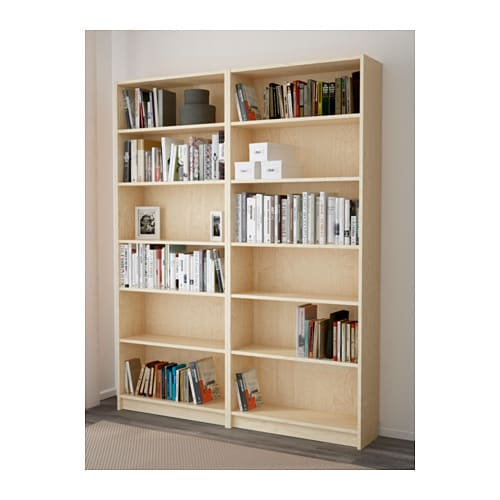Billy bookcase birch veneer 160x202x28 cm ikea for Types of bookshelves