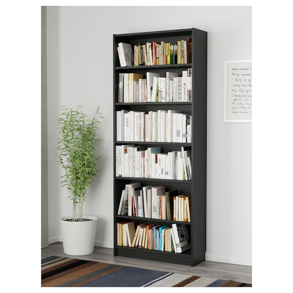 BILLY Bookcase, black-brown, 80x28x202 cm