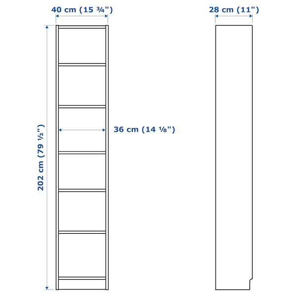 BILLY Bookcase, black-brown, 40x28x202 cm