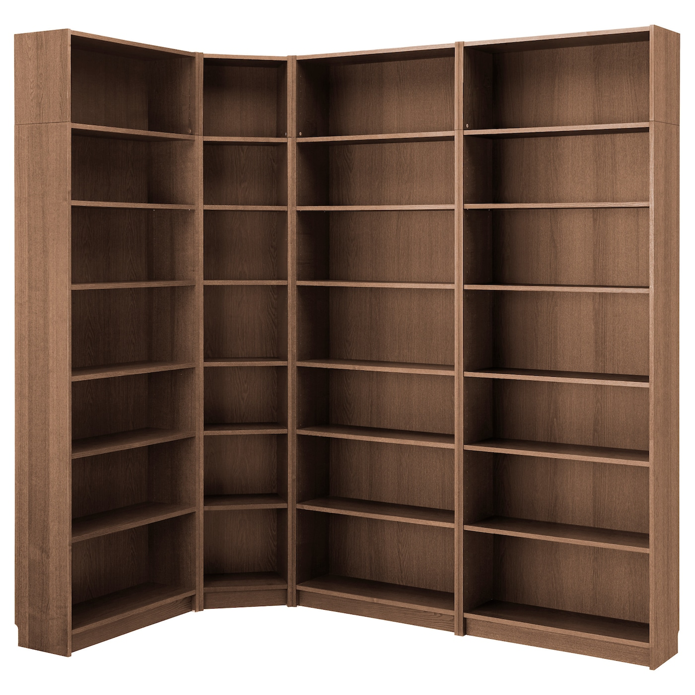 Billy bookcase brown ash veneer 215 135x237x28 cm ikea - Ikea bibliotheque angle ...