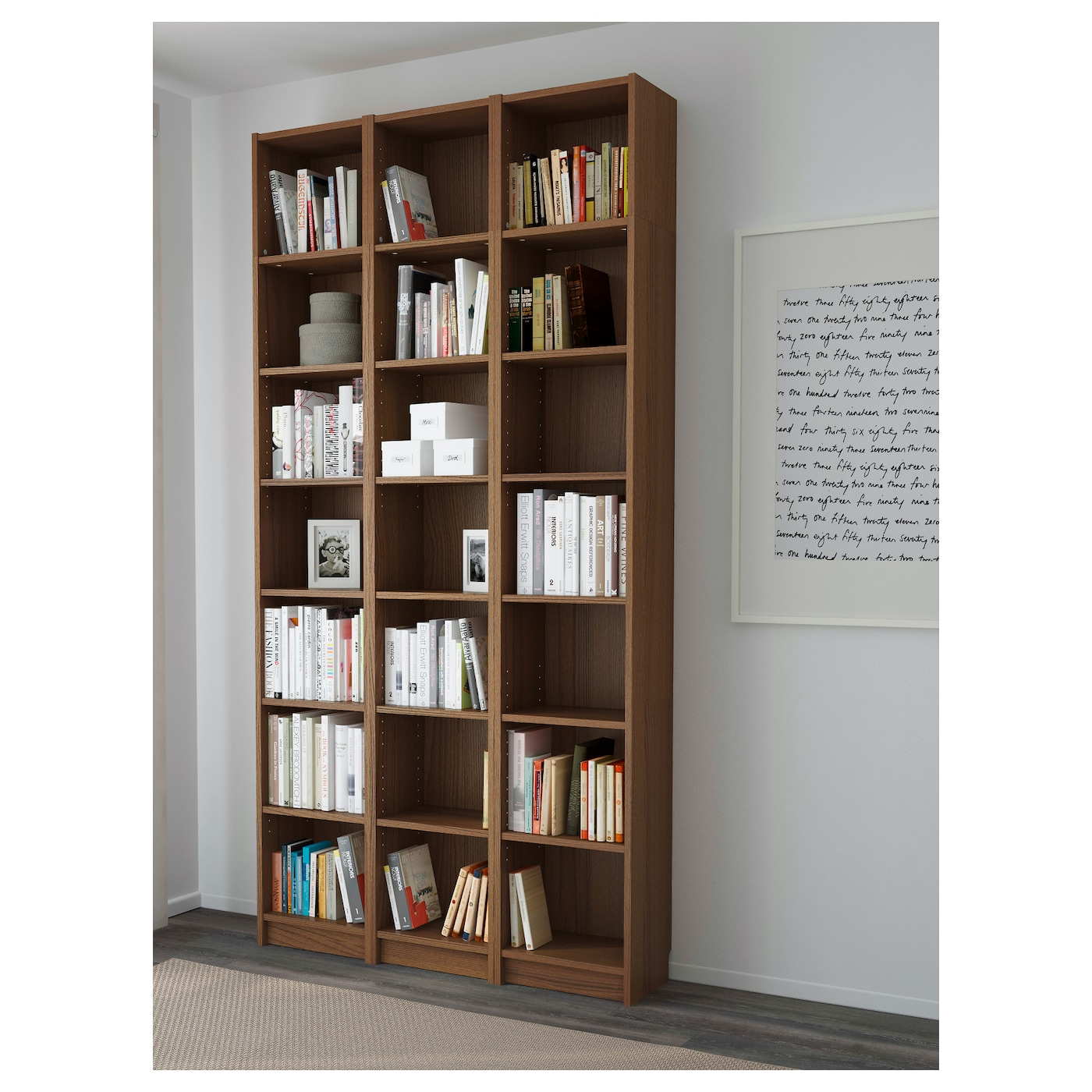 Billy bookcase brown ash veneer 120x237x28 cm ikea - Eclairage bibliotheque ikea ...