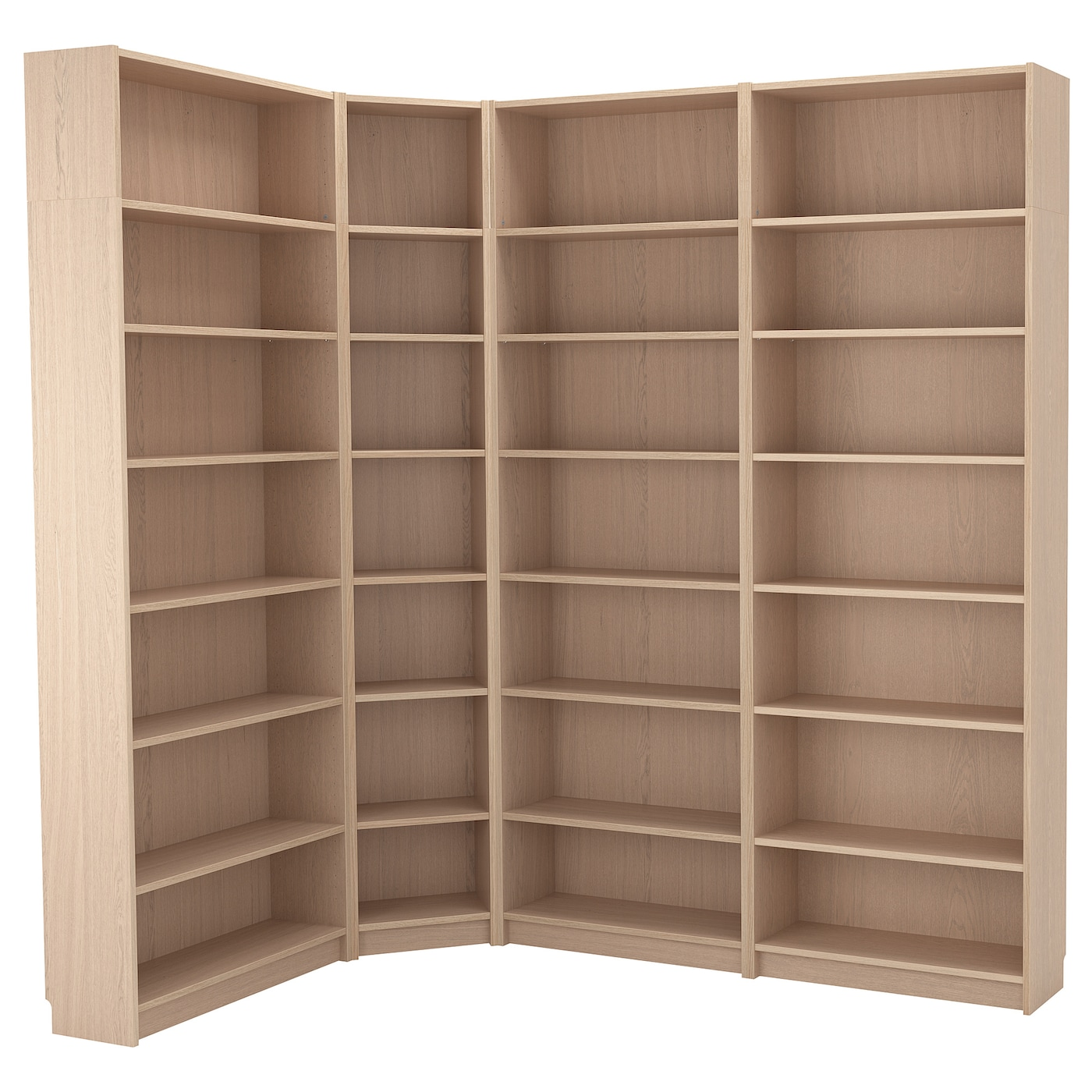Bookcase Combination Crnr Solution Billy White Stained Oak Veneer