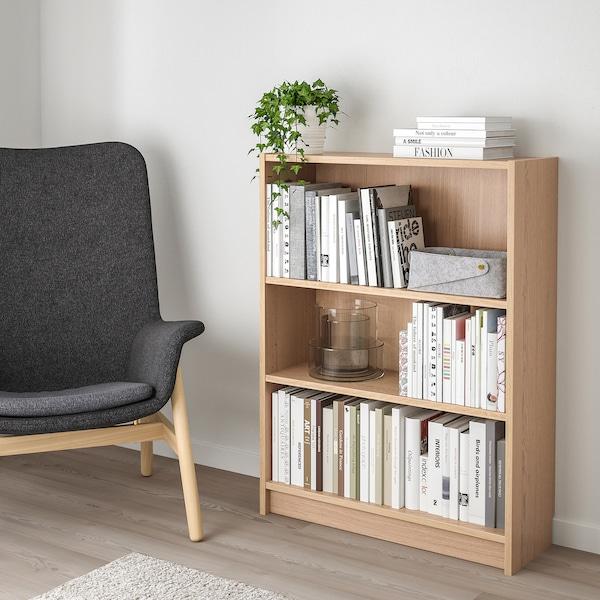 BILLY Bookcase, white stained oak veneer, 80x28x106 cm