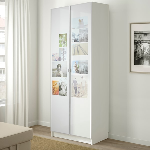 BILLY Bookcase with doors, white, 80x42x202 cm