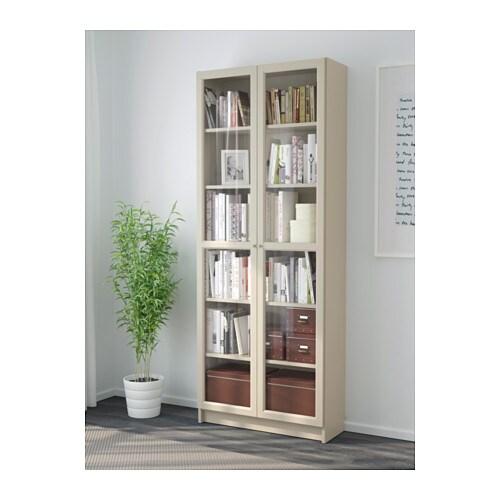 Billy Bookcase With Glass Door Beige 80x30x202 Cm Ikea