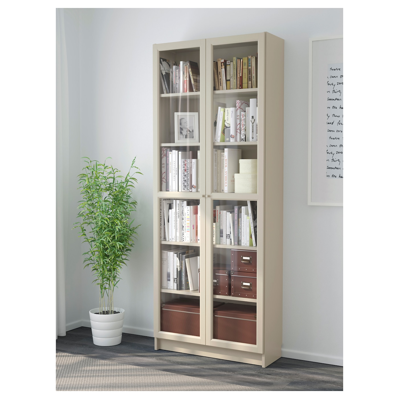 billy bookcase with glass doors beige 80 x 30 x 202 cm ikea. Black Bedroom Furniture Sets. Home Design Ideas