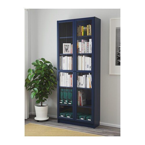 Billy Bookcase With Glass Doors Dark Blue 80x30x202 Cm Ikea