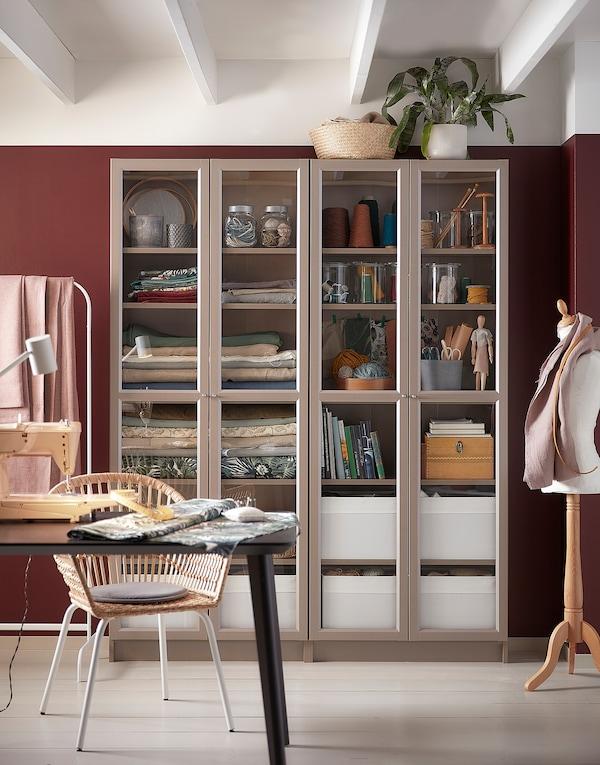 BILLY Bookcase with glass-doors, grey/metallic effect, 80x30x202 cm