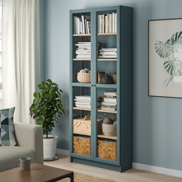 BILLY Bookcase with glass-doors, grey-turquoise/white stained oak veneer, 80x30x202 cm