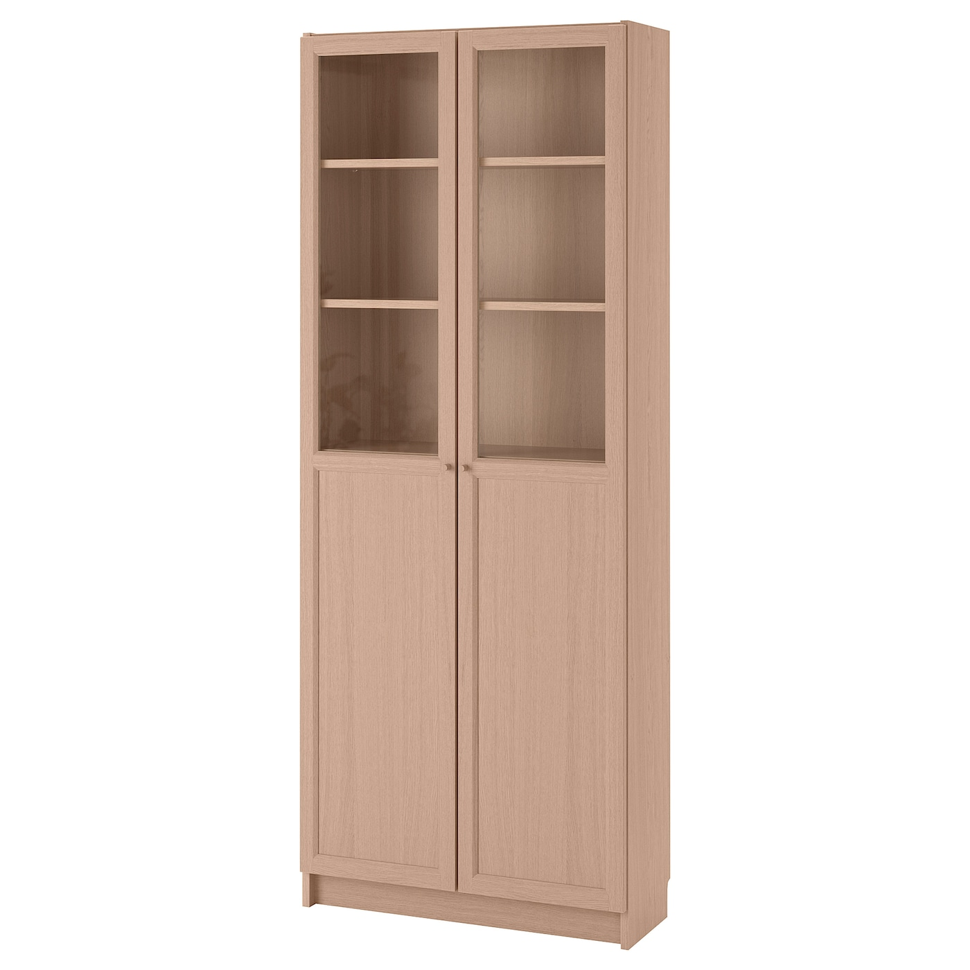 IKEA BILLY bookcase with panel/glass doors Surface made from natural wood veneer.