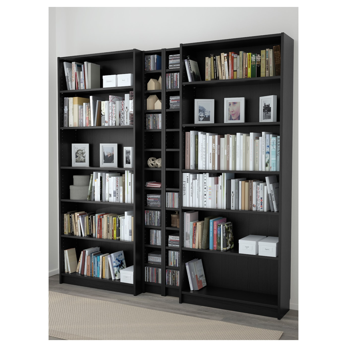 Billy gnedby bookcase black brown 200x202x28 cm ikea for Billy vitrine