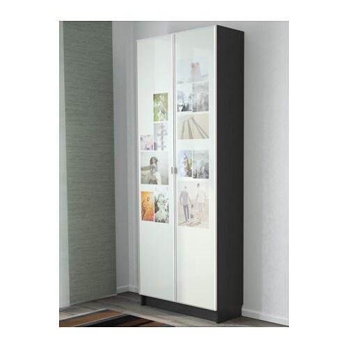Billy morliden bookcase black brown 80x202x30 cm ikea - Ikea billy porte vitree ...