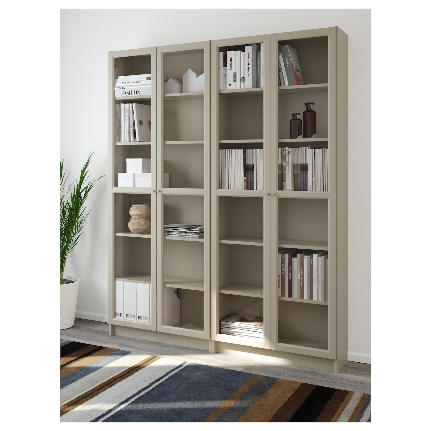 billy oxberg bookcase beige 160x202x30 cm ikea. Black Bedroom Furniture Sets. Home Design Ideas