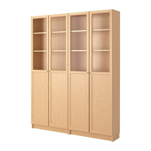billy oxberg bookcase birch veneer 160x202x30 cm ikea. Black Bedroom Furniture Sets. Home Design Ideas