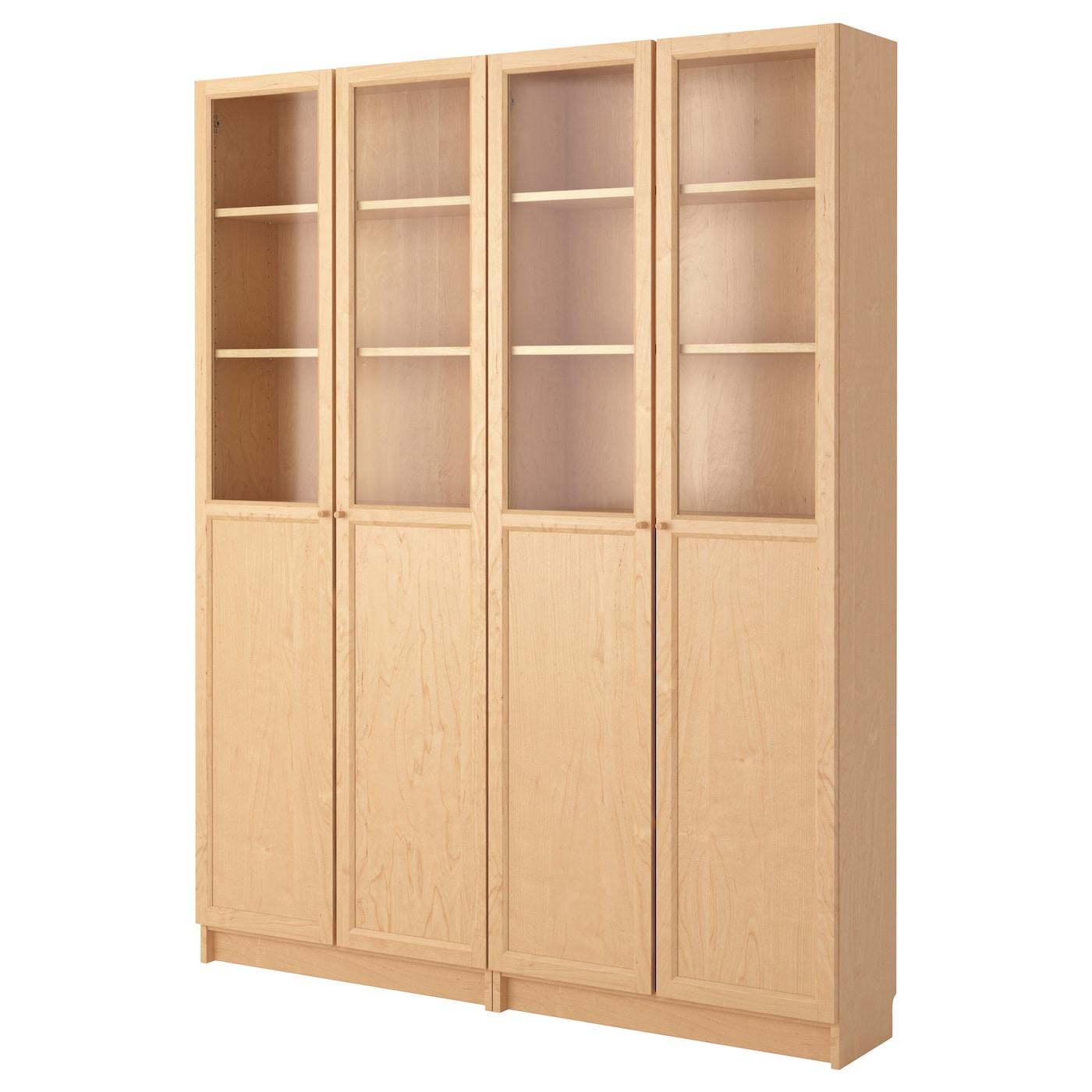 Billy oxberg bookcase birch veneer 160x202x30 cm ikea - Eclairage bibliotheque ikea ...