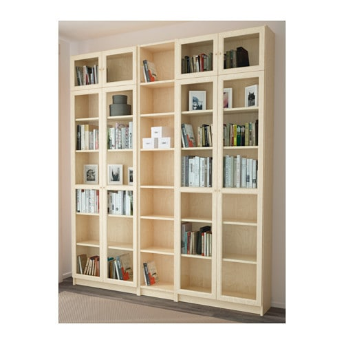 billy oxberg bookcase birch veneer 200x237x30 cm ikea. Black Bedroom Furniture Sets. Home Design Ideas