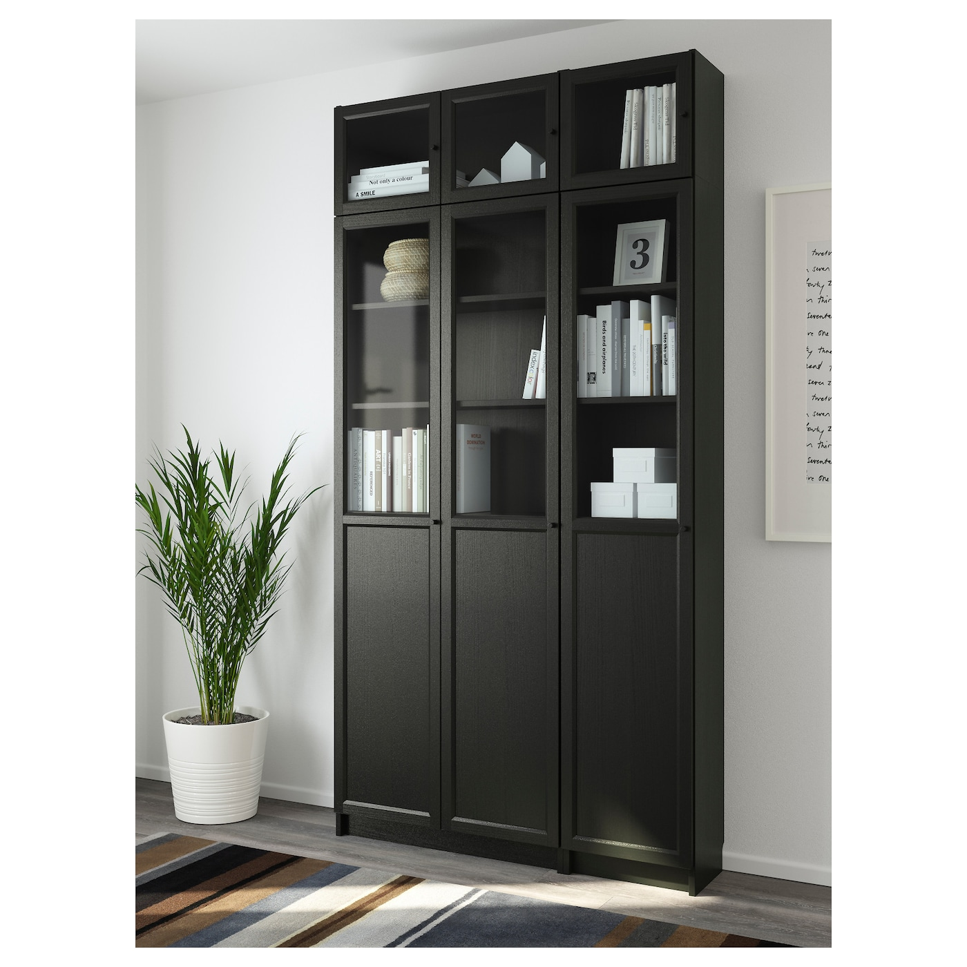 billy oxberg bookcase black brown glass 120 x 237 x 30 cm ikea. Black Bedroom Furniture Sets. Home Design Ideas