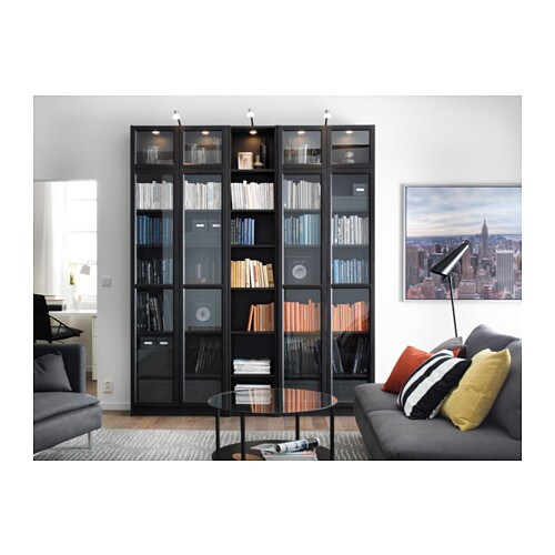 billy oxberg bookcase black brown 200x237x30 cm ikea. Black Bedroom Furniture Sets. Home Design Ideas