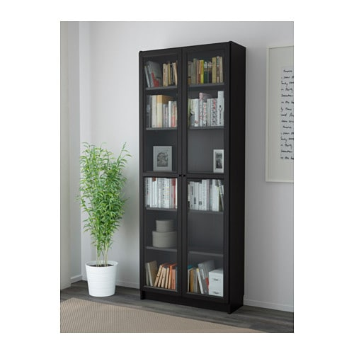 billy oxberg bookcase black brown 80x202x30 cm ikea. Black Bedroom Furniture Sets. Home Design Ideas