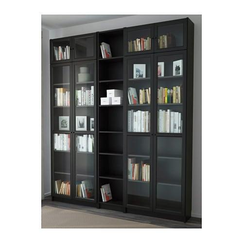 billy oxberg bookcase black brown 200x237x30 cm ikea