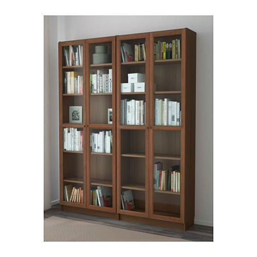 billy oxberg bookcase brown ash veneer 160x202x28 cm ikea. Black Bedroom Furniture Sets. Home Design Ideas