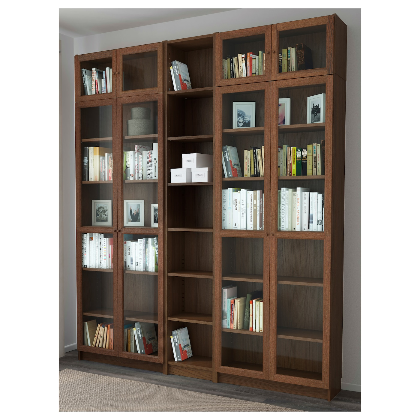 billy oxberg bookcase brown ash veneer 200x237x30 cm ikea. Black Bedroom Furniture Sets. Home Design Ideas