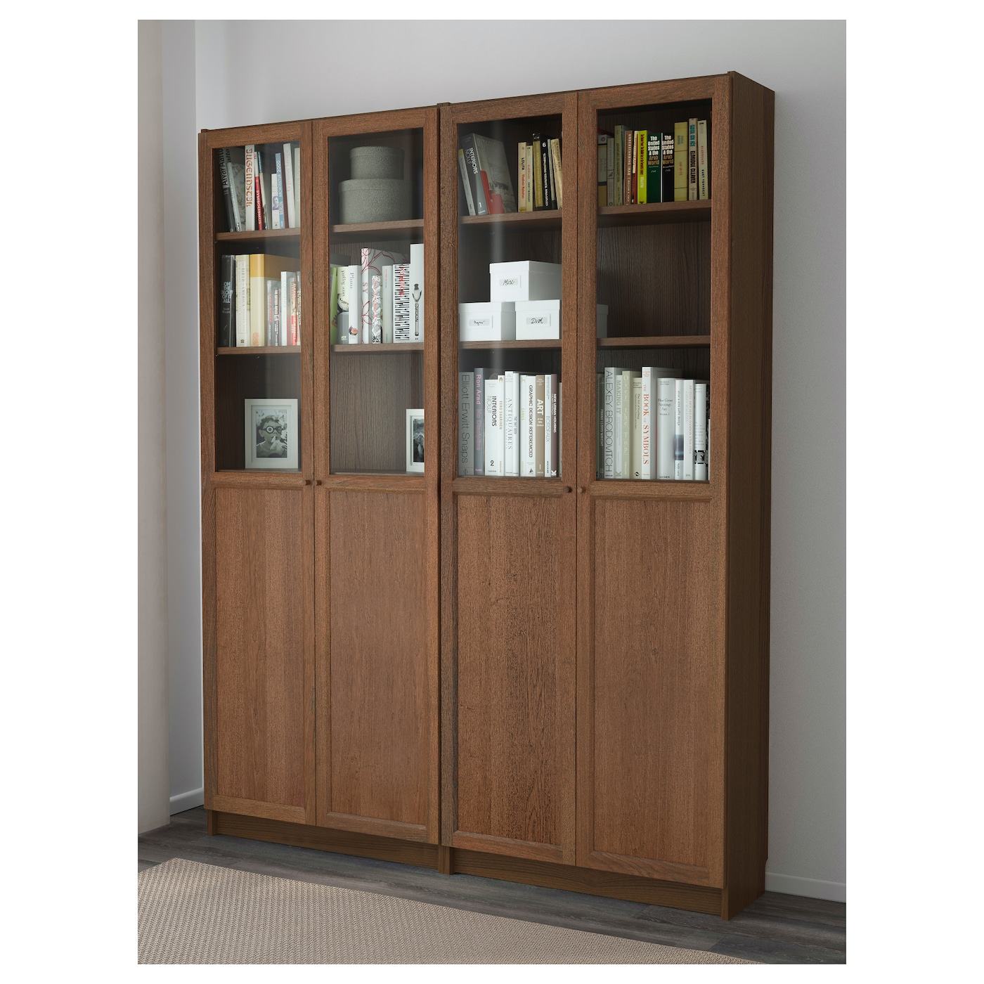 Billy oxberg bookcase brown ash veneer 160x202x30 cm ikea - Ikea billy porte vitree ...